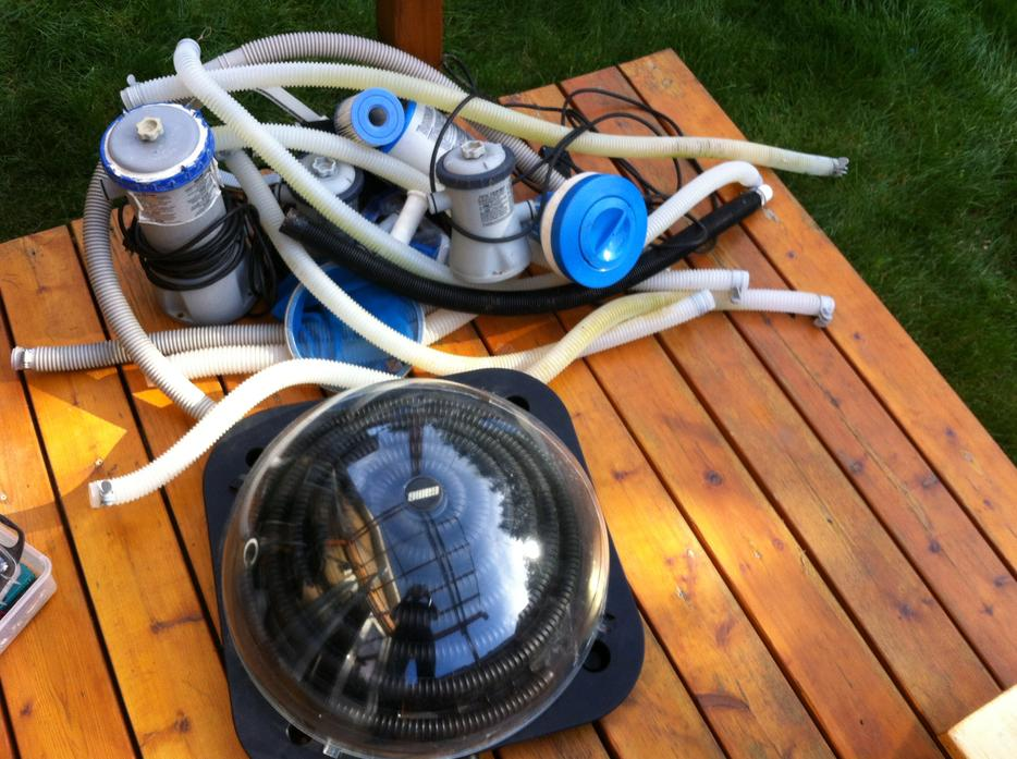 Solar heater 3 filter pumps and a 8 39 pool west shore for Pool heater and filter