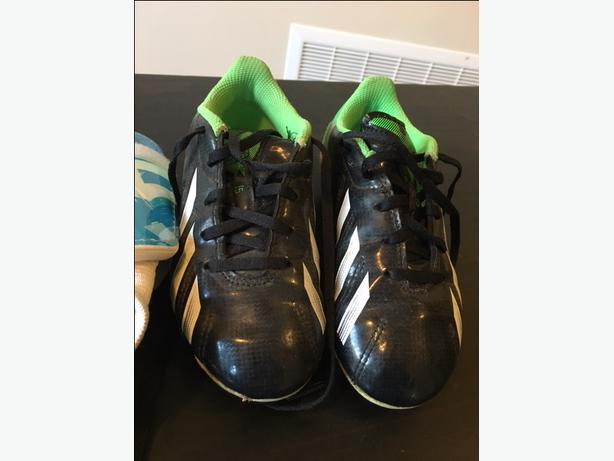 Size 12k Kids Adidas Soccer Shoes + Shin Guards