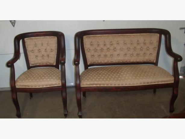 ANTIQUE SETTEE AND MATCHING ARMCHAIR