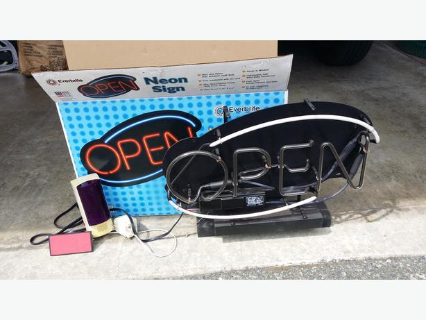 neon open sign and door beeper