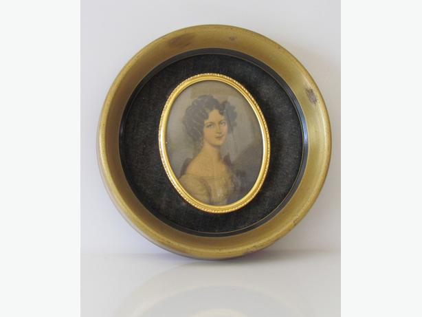 Vintage Small Velvet Framed Portrait