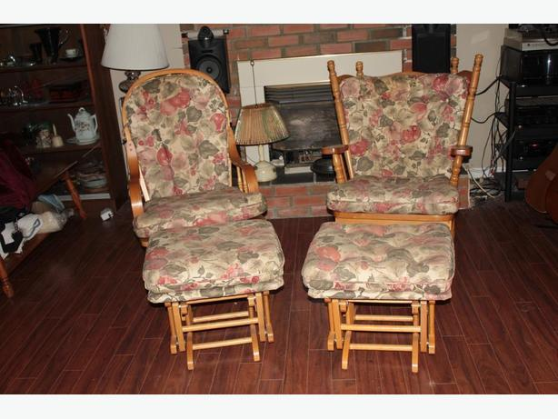 PAIR GLIDER ROCKERS WITH MATCHING HASSOCKS VERY GOOD CONDITION