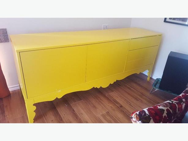 IKEA Yellow cabinet w/ drawers, comes with yellow side table!