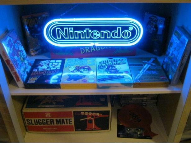 "Blue Nintendo Neon Sign - With Chain For Hanging - 15"" x4.5"""