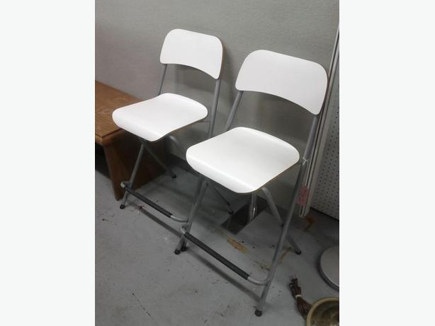 Pair of White Folding Stools