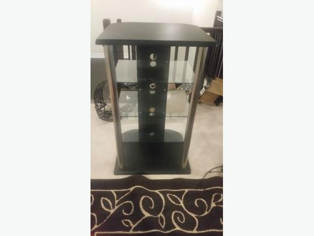 Beautiful Black and Silver Stereo Stand with Glass Shelves