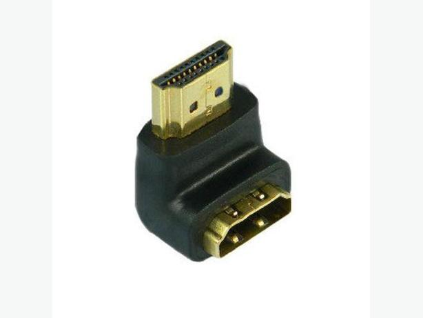 Gold Plated HDMI Right-Angle M/F Port Saver Adapter, 90 Degree