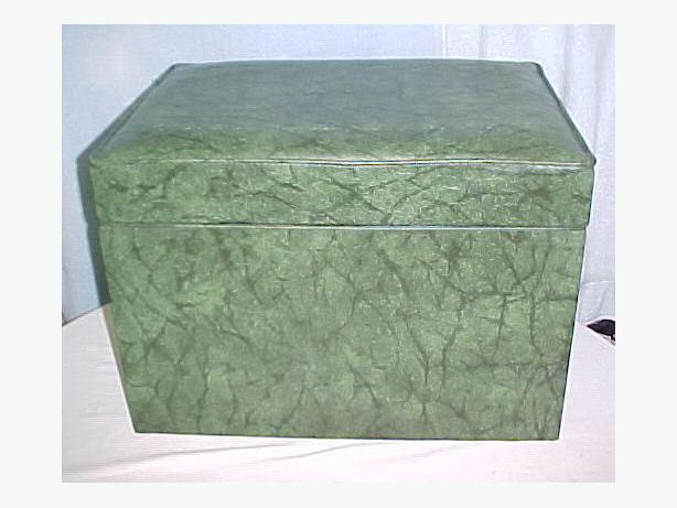 Retro Art Deco Green Vinyl LP Record Box~Ottoman Footstool Hassock
