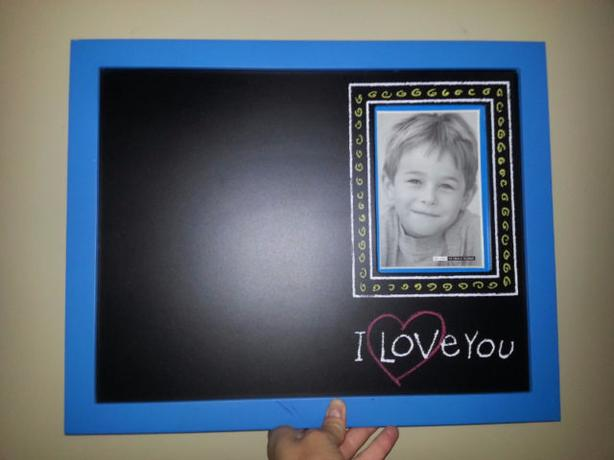 Blue Frame I Love You Chalk Board