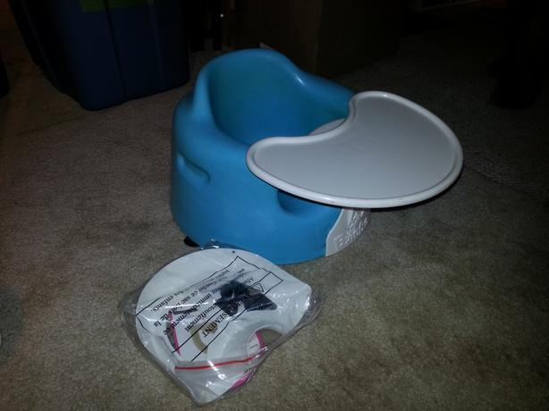 Blue Bumbo Seat With Harness and Tray