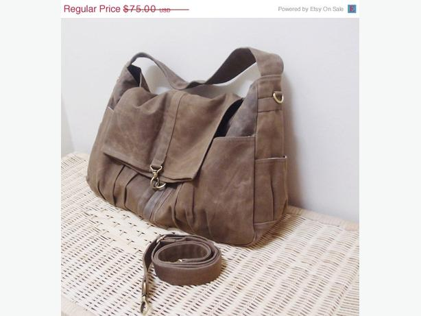 Waxed Canvas Brown Baby or Diaper Bag or Stylish Tote