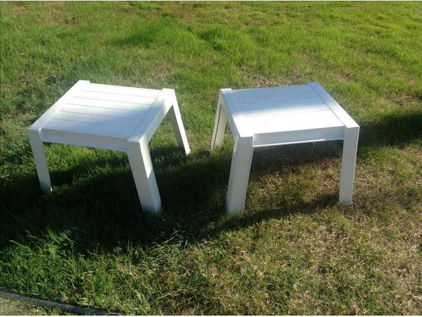 Two durable patio or lawn tables