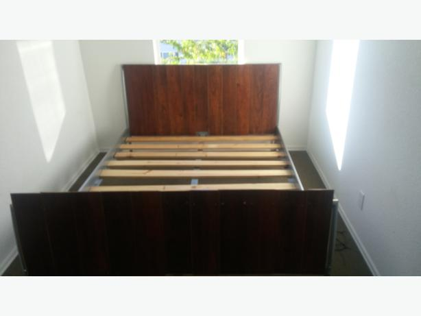 CUSTOM MADE DOUBLE BED /METAL FRAME WOODEN HEAD AND FOOT BOARDS