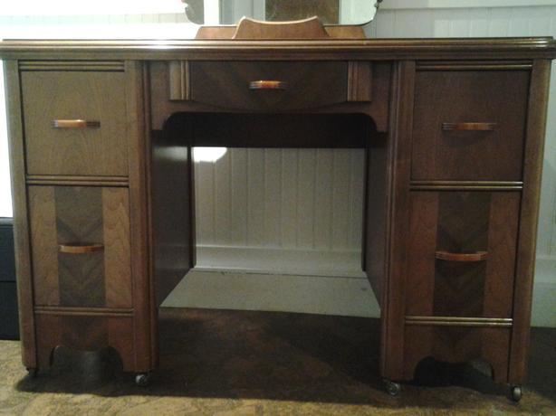 Vintage All Wood Vanity / Desk
