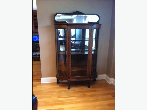 VINTAGE BOW FRONT OAK CHINA CABINET