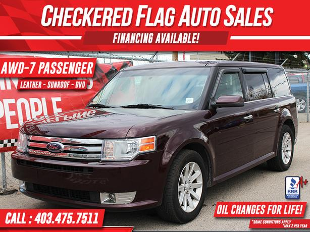 2011 FORD FLEX W/ AWD-DVD-LEATHER-ROOF-7 PASSENGER SEATING