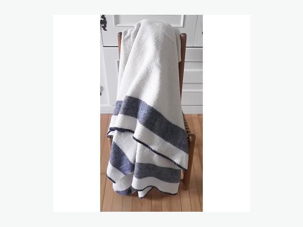 Vintage Wool Blanket Cream-Coloured With Navy Stripe