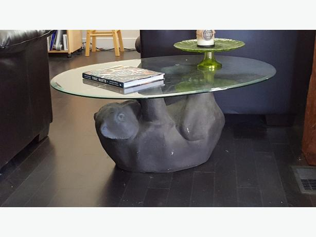 Glass Black Bear Coffee Table