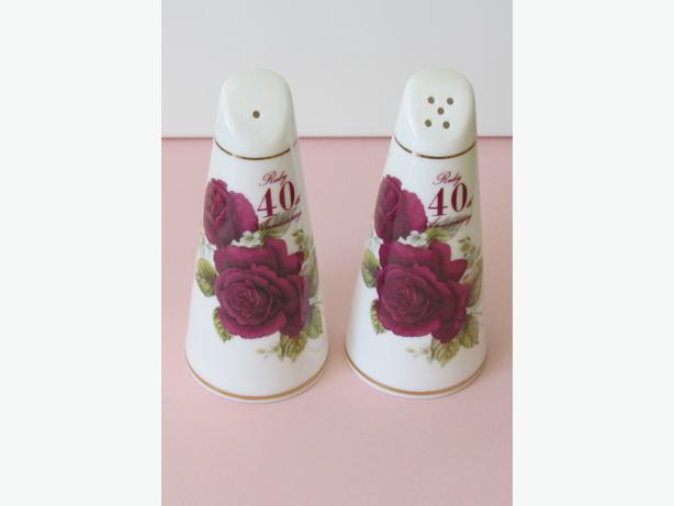 Bone China 40th Wedding Anniversary Salt & Pepper Shakers - As New