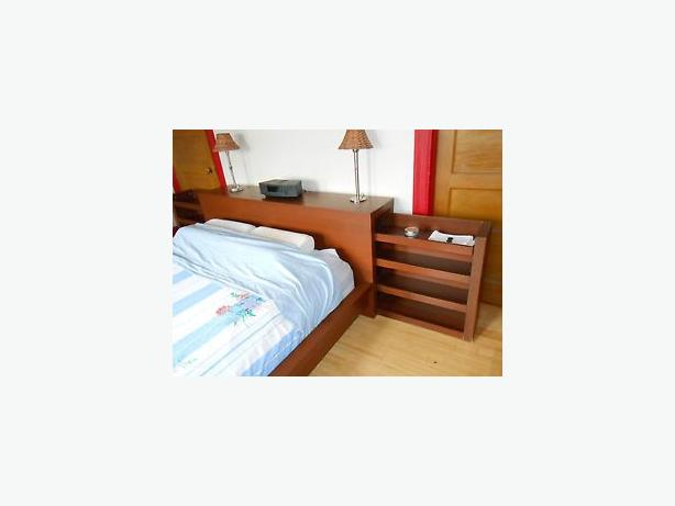Ikea Queen Malm Bed frame with headboard w/  hidden shelving