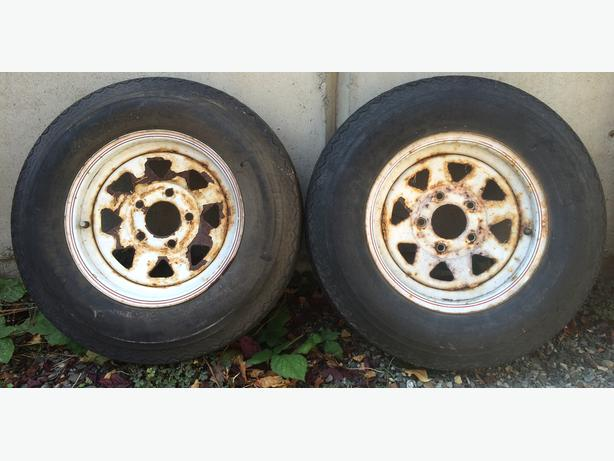 "13"" trailer wheels and tires (x2)"
