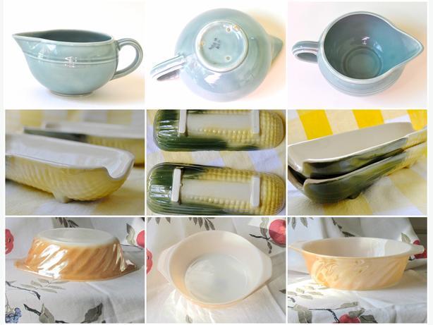 Vintage Creamer, Corn on Cob Dishes, Fire King Casserole Dish