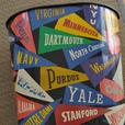 Vintage Disneyland Tin Drink Tray & Metal Garbage Can US College