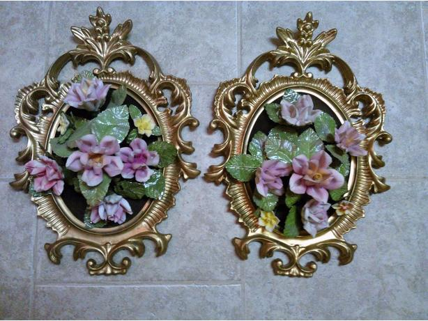 porcelain flowers in frames for wall hanging