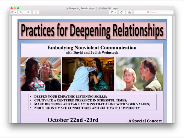 Practices for Deepening Relationships Workshop Oct 21 - 23
