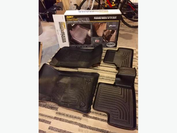 Black Front & Back Seat Winter Mats - Husky Weather Beater Brand