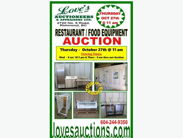 RESTAURANT EQUIPMENT AUCTION - THURSDAY- OCT 27th @ 11 am - LOVE'S AUCTIONS