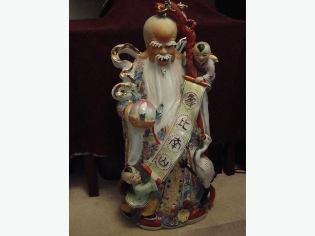 Vintage Porcelain Three Chinese Gods Statues