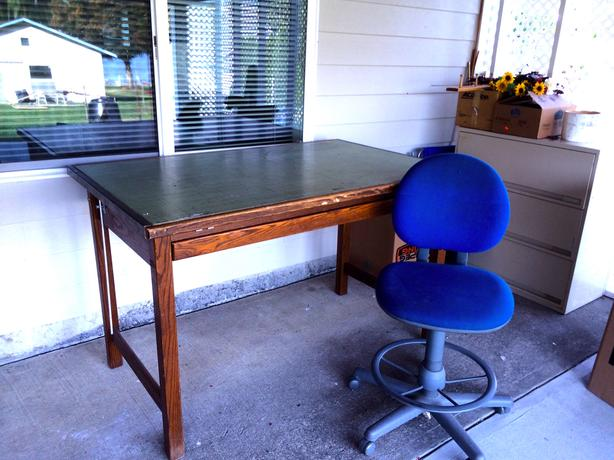 Sewing & Art Desk with Professional Drafting Stool