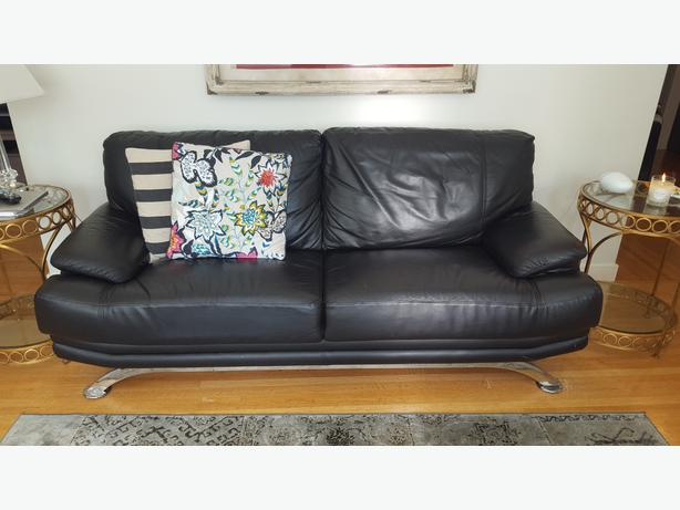EQ3 Black Leather Couch