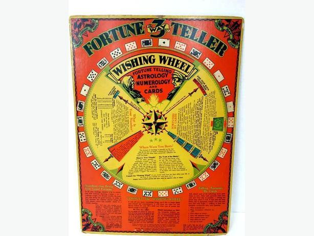 Antique Wishing Wheel Game 3 Way Fortune Teller 1933