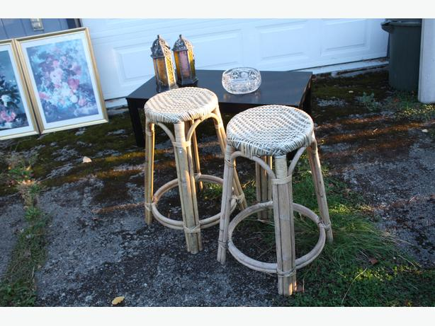 PAIR OF RATTAN STOOL OLD SCHOOL DESIGN $30