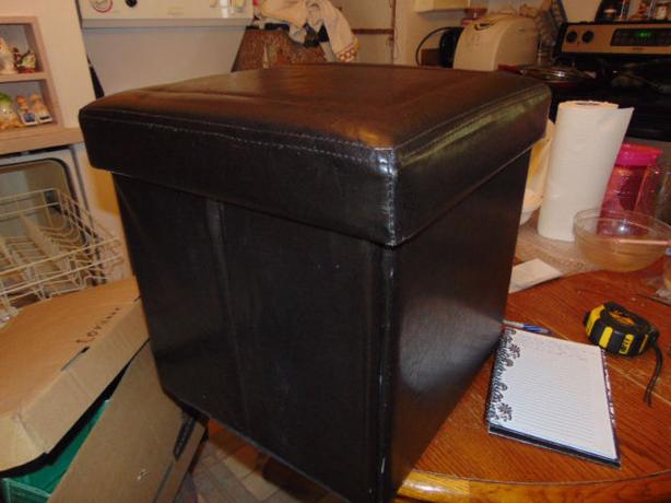 Folding pleather ottoman storage