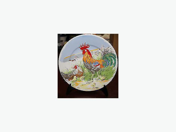 Rooster farmyard plates-wall decor ,art two plates , rooster& hen