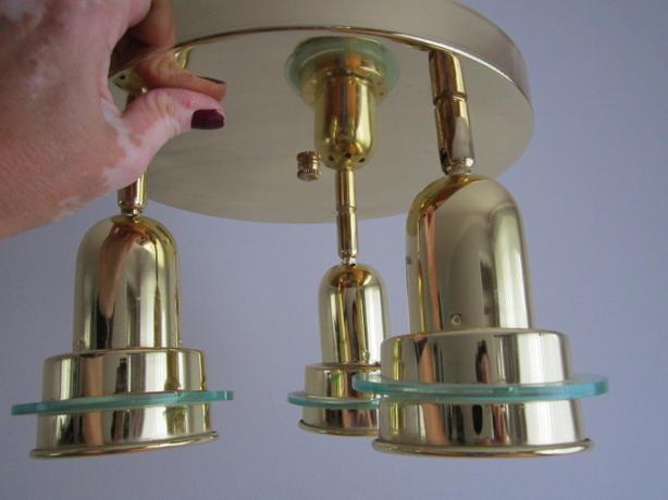 Brass 3 light ceiling light