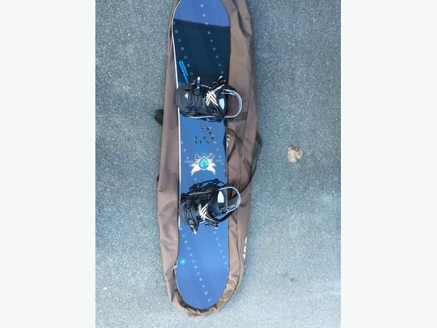 Used W's Nitro Fate49 board, Rome strut bindings, Salomon boots