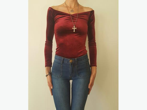 Scarlet Off The Shoulder Velvet Top