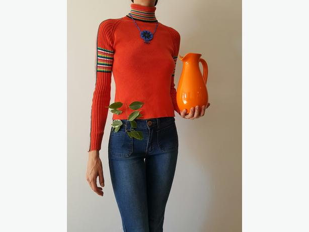 Rainbow Orange 70s Sunshine Turtleneck Sweater
