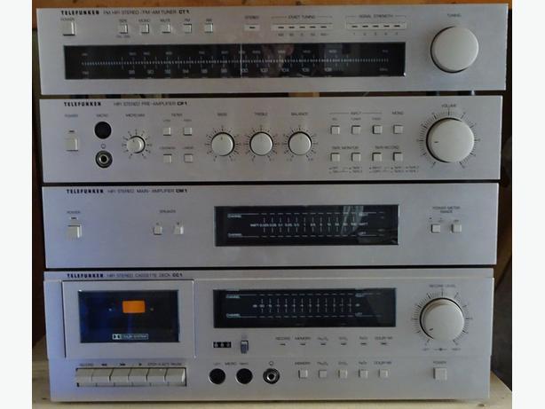 VINTAGE-TELEFUNKEN-AMP+PREAMP+TUNER+CASSETTE+Speakers