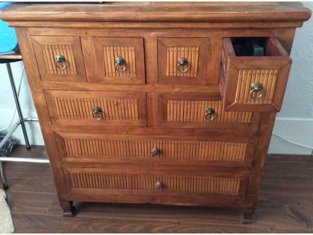 Teak and rattan dresser