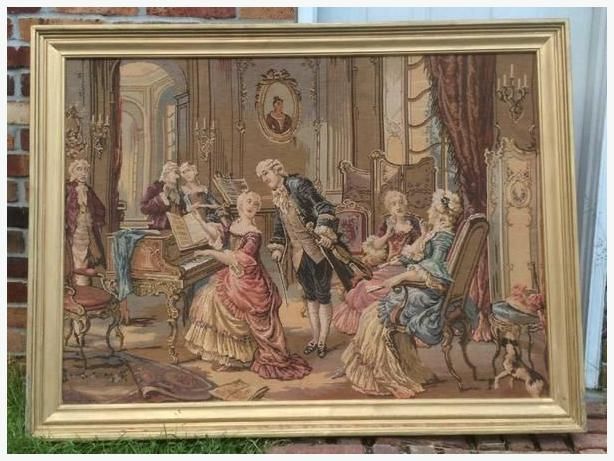 antique framed tapestry