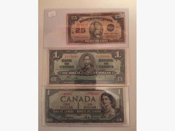 1-1923, 1-1937, & 1-1954 Canadian paper bills