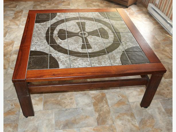 Coffee table on casters, tile top, Gothic