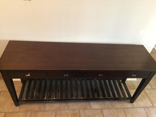 Dark Brown Wood Sofa Table