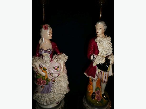 Antique Victorian porcelain figural lamps 31 inches tall