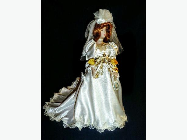 Vintage porcelain bride doll in box